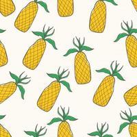 padrão sem emenda abstrato desenhado à mão abacaxis vetor