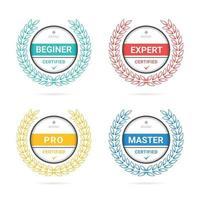 modelo de logotipo de crachá de critérios certificados vetor