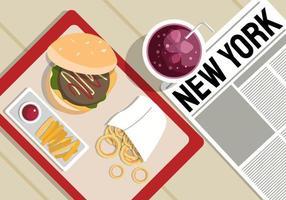 New York Food Background Illustration vetor