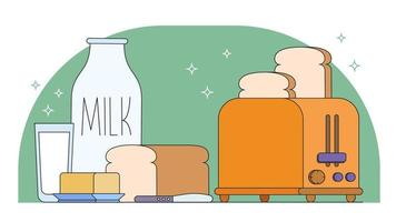 Milk Toast And Butter Vector