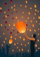 Taiwan Sky Lantern Festival vetor