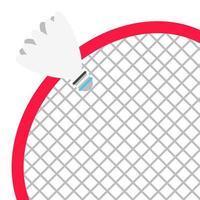 raquete de badminton e peteca estilo plano design ilustração vetorial composição ícone sinais isolados no fundo branco. equipamentos do jogo de esporte badminton. vetor