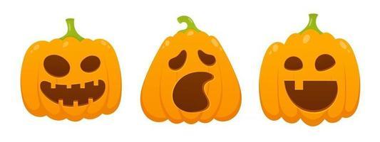 3 abóboras de halloween laranja com expressão de rosto assustador vetor