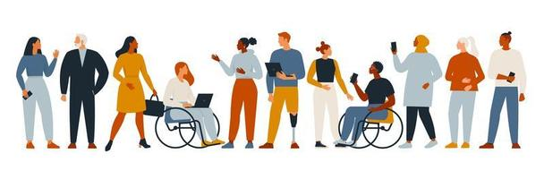 o diversificado grupo de pessoas, empresários ou trabalhadores de escritório isolados no fundo branco. companhia multinacional. homens e mulheres velhos e jovens juntos. ilustração em vetor plana dos desenhos animados.