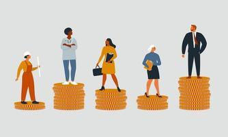 ricos e pobres com salários, rendimentos ou oportunidades injustas de crescimento na carreira diferentes. conceito de desigualdade financeira ou lacuna nos ganhos. ilustração dos desenhos animados do vetor plana isolada.