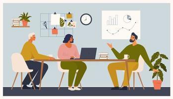 cena no escritório. homens e mulheres sentam-se participando de uma reunião de negócios, negociação, brainstorming, conversando entre si. ilustração vetorial colorida em estilo cartoon plana. vetor