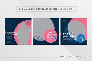 conjunto de banner de moda para redes sociais vetor