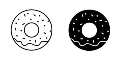 conjunto de ícones de donut preto vetor