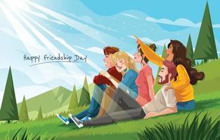 feliz dia da amizade com grupo de amigos vetor