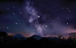 chuva de meteoros no céu noturno vetor