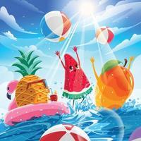 frutas jogando bola no verão vetor