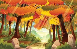 caminho da floresta no outono outono vetor