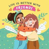 melhores amigos se abraçando vetor