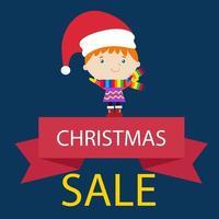 etiqueta de venda de natal com desconto ilustração em vetor modelo