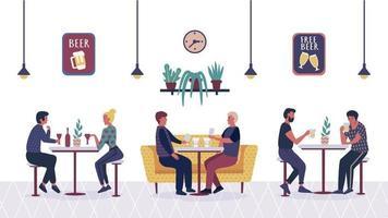 pessoas no bar café, casal de desenhos animados, amigos, homem e mulher relaxando e sentados às mesas e sofá num encontro com beber cerveja e café. personagens planos de desenhos animados no interior do bar. vetor