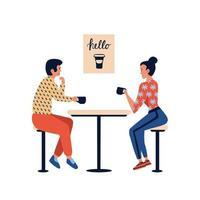 pessoas no café, casal homem e mulher relaxando e bebendo café vetor