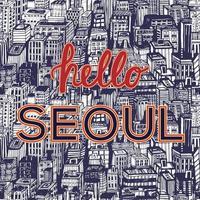 ilustração em vetor horizonte seoul. fundo da cidade coreia do sul