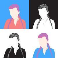 conjunto de 4 retratos de meninas, ícones de mulheres, avatares. vetor