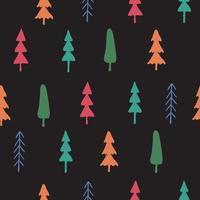 padrão sem emenda com ramos de pinheiro-pinheiro desenhados à mão vetor