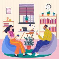 trabalhadores de escritório homem e mulher no escritório estão descansando vetor