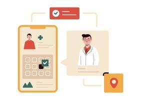 marcar uma consulta com um médico ilustração vetorial on-line vetor