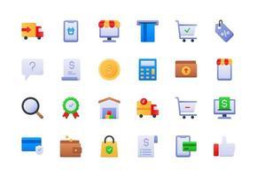 conjunto de ícones gradiente de e-commerce e compras vetor