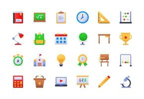 conjunto de ícones de gradiente escolar e educacional vetor