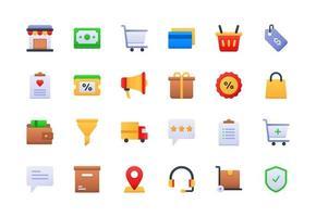 conjunto de ícones gradientes de comércio eletrônico vetor