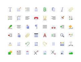 conjunto de ícones de gradiente de editor de texto vetor