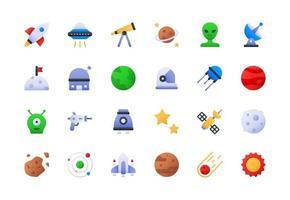 conjunto de ícones gradiente de objetos espaciais vetor