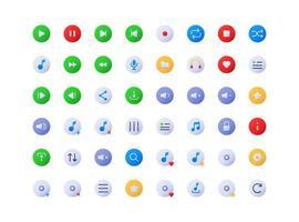 conjunto de ícones gradiente de botões de tocador de música vetor