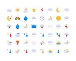 conjunto de ícones de gradiente de clima vetor