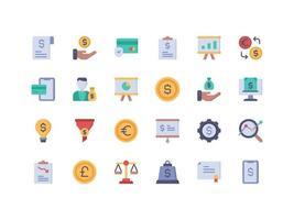 conjunto de ícones planos de finanças e contabilidade vetor