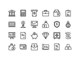 conjunto de ícones de contorno de finanças e contabilidade vetor