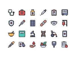 conjunto de ícones de cores lineares de saúde e médicos vetor