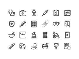 conjunto de ícones de contorno médico e de saúde vetor