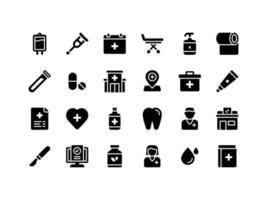 conjunto de ícones de glifo médico e de saúde vetor