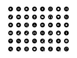 conjunto de ícones de glifo de botões do player de música vetor