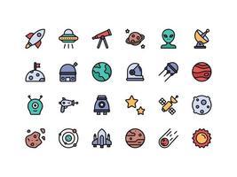 conjunto de ícones de cores lineares de objetos espaciais vetor