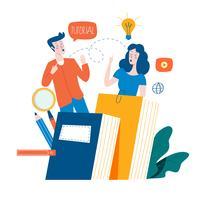 Educação, cursos de formação online, educação a distância ilustração vetorial plana