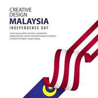 modelo de vetor ilustração malásia dia da independência celebração design criativo