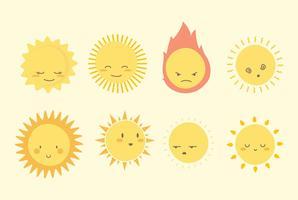 Coleção de arte de clipe de sol vetor