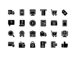 conjunto de ícones de glifo de e-commerce e compras vetor