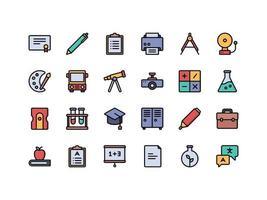 conjunto de ícones de cores lineares para escola e educação vetor