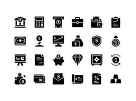 conjunto de ícones de glifo de finanças e contabilidade vetor