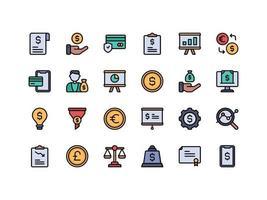 conjunto de ícones de cores lineares de finanças e contabilidade vetor