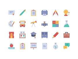 conjunto de ícones lisos para escola e educação vetor
