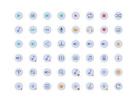 conjunto de ícones lisos dos botões do player de música vetor