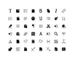 conjunto de ícones de glifo do editor de texto vetor
