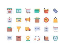 conjunto de ícones planos de e-commerce e compras vetor
